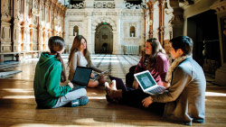 Students lounging in the Great Hall